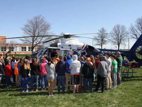 The LifeNet medical helicopter was at James Buchanan Middle School recently as part of a Character Counts assembly.