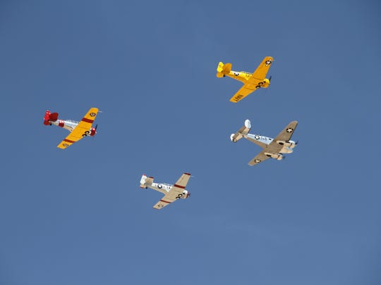 The Ghost Squadron from Midland, Texas flies in formation during an aerial display at the 2018 Holloman Air and Space Expo Saturday.