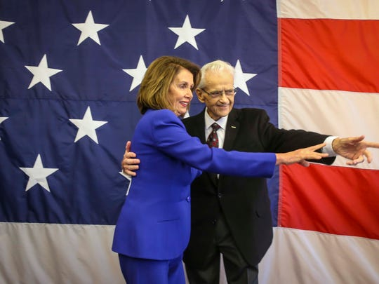 Democratic Leader Nancy Pelosi hugs Congressman Leonard Boswell before she speaks at the Polk County Spring Dinner, annual spring fundraiser for the Polk County Democratic Party, Sunday, May 6th, 2018, representing the largest county in the nation's first caucus state.