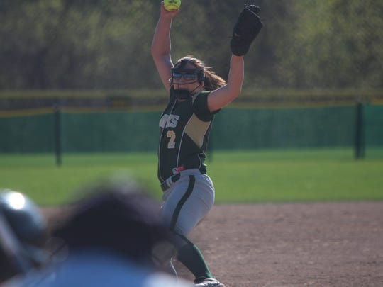 Greenfield pitcher Alyssa Vilkoski delivers a pitch during a game against New Berlin West on May 7, 2018 at Konkel Park.