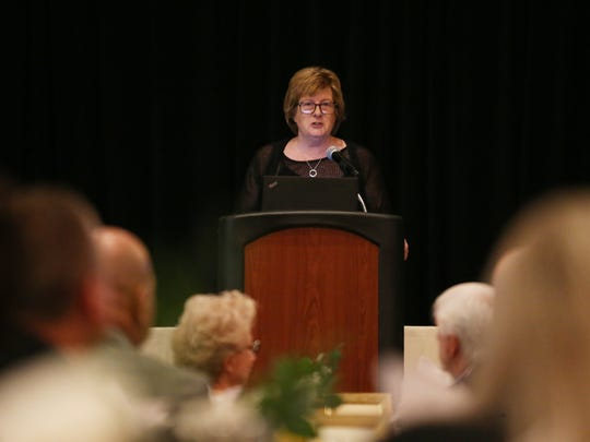 Ann McMackin, president of Vassar Brothers Medical Center speaks during Tuesday's state of the hospital breakfast in the City of Poughkeepsie on May 8, 2018.