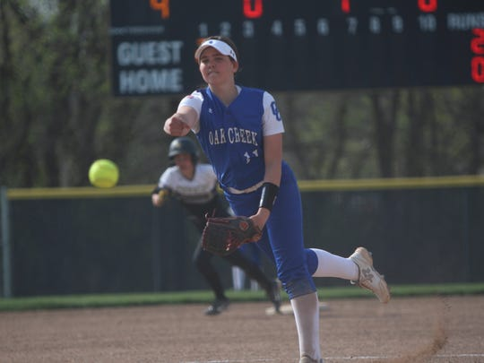 Oak Creek pitcher Becca Oleniczak delivers a pitch