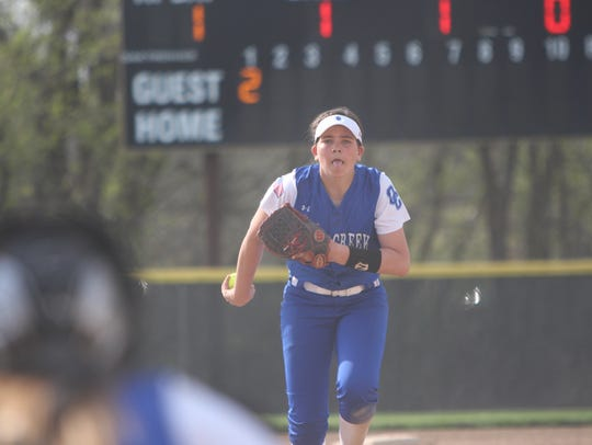 Oak Creek pitcher Becca Oleniczak winds up before throwing