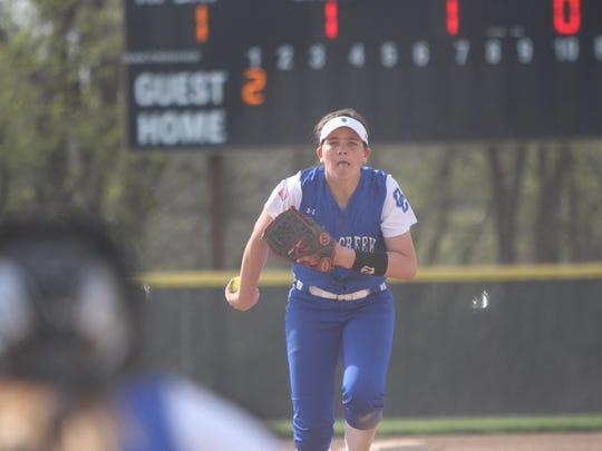 Oak Creek pitcher Becca Oleniczak winds up before throwing