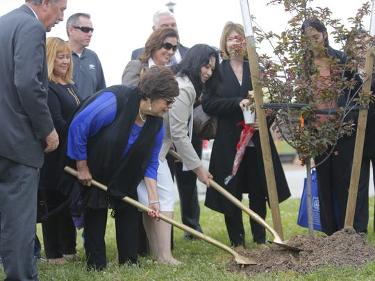 Azahel Cruz Park on East Laurel Drive received its first tree on Thursday.