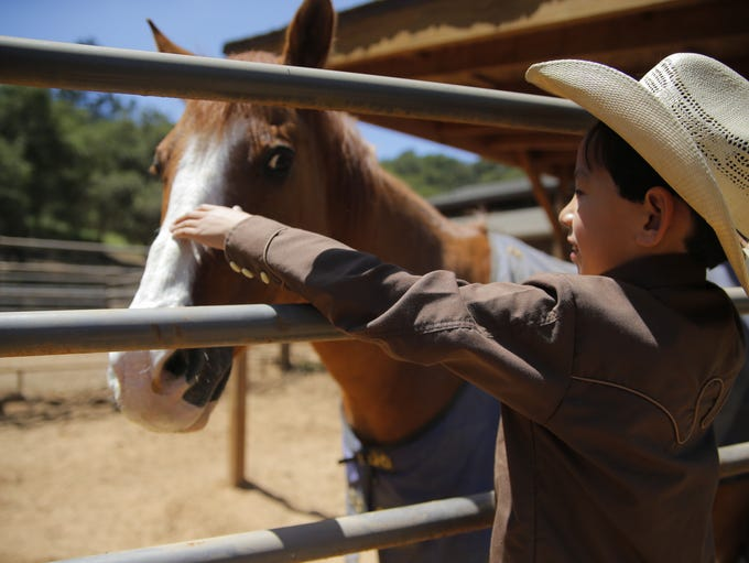 Julian Ramirez pets a horse during the Horses and Heroes