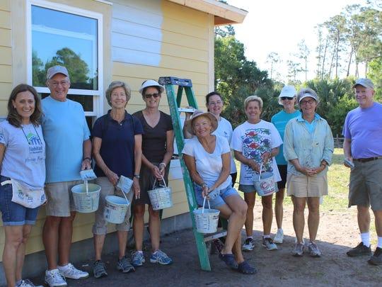 Moorings volunteers Cyndy Hazlewood, David Goodrich,
