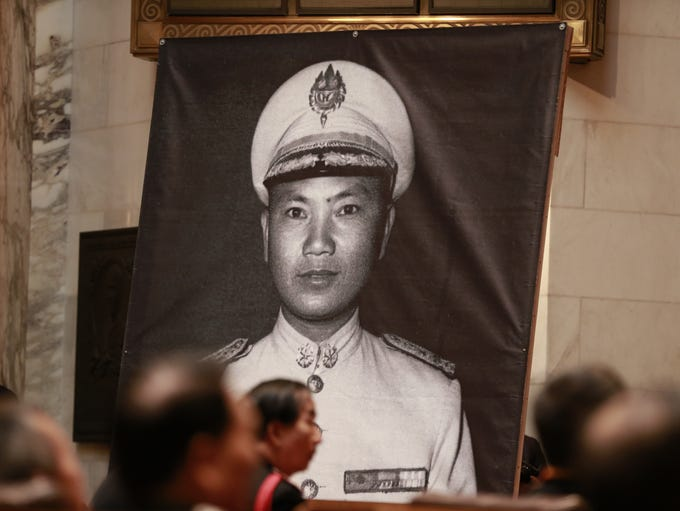 General Vang Pao's photo displays at a chamber Monday,