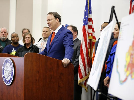 FC Cincinnati general manager Jeff Berding thanks council members for their support during a press conference to announce a community benefits agreement between FC Cincinnati and the city to support the West End and areas surrounding the proposed soccer stadium at Cincinnati City Hall in downtown on April 16, 2018.