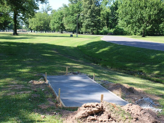 Tee pads were installed at the Disc Golf course in