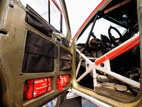 A detailed look at the safety precautions, including carbon fibre door lining, medical kit and roll cage in the vehicle from Leeroy Poulter and Robert Howie of South Africa from Team Imperial Toyota during the 2014 Dakar Rally Previews