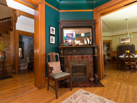 The Sahagian-Allsopp home has two fireplaces. This one is in the first-floor parlor.