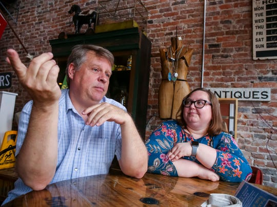 City Council Member Holly Berg and Main Street Director Fred Zesiger in downtown Ottumwa, Iowa, Wednesday, May 23, 2018.