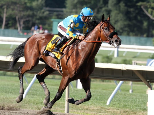 2015 Triple Crown winner American Pharoah is shown