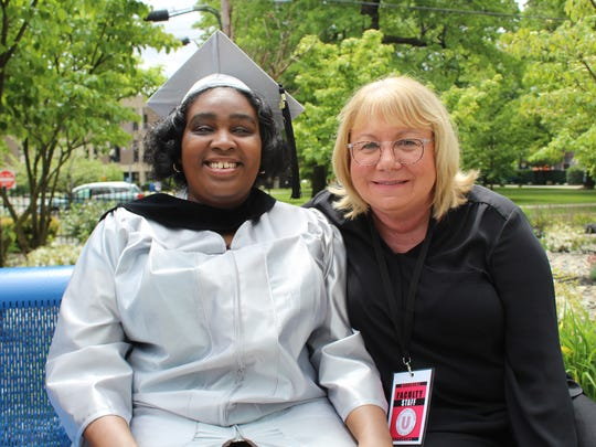 Union County College Graduate Claress Knight and Union County College Coordinator of Services for Students with Disabilities, Karen Cimorelli.