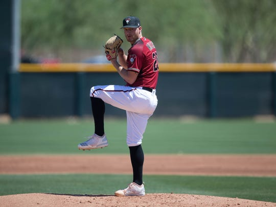 Shelby Miller pitches in a rehab start late last month.