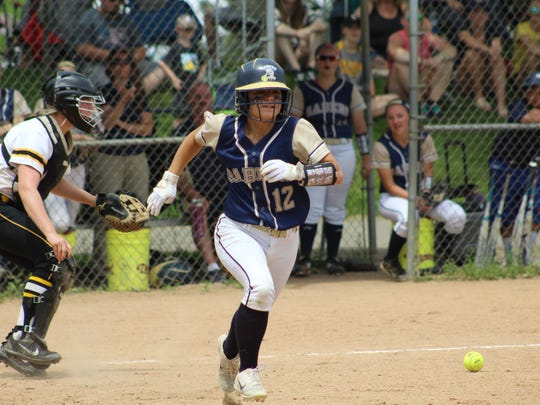 Susquehanna Valley's Olivia Parker heads to first base