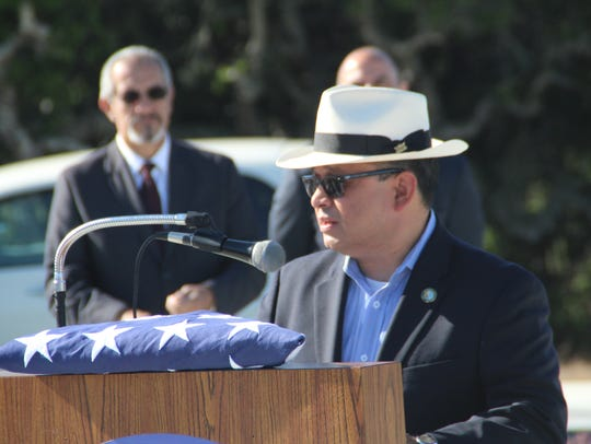 Monterey County Chairman Luis Alejo speaks at the first
