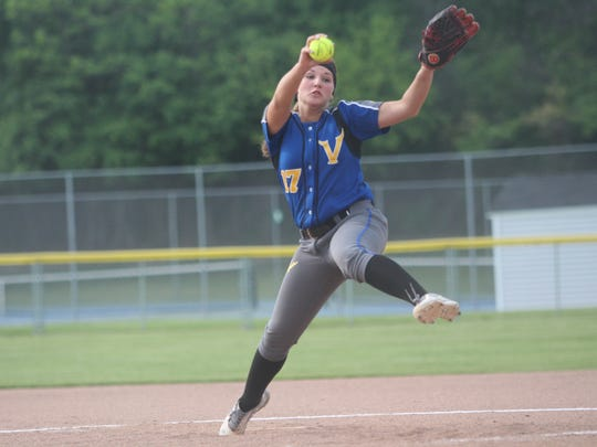 New Berlin West pitcher Cheyenne Sowinski delivers a pitch in a sectional semifinal game against Whitnall on May 29, 2018.