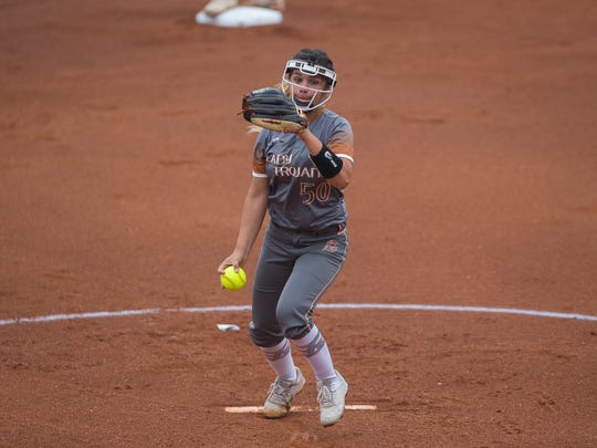 Beeville's Aaliyah Ruiz throws a pitch during the first