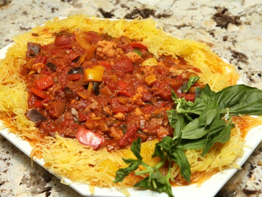 Rick Winter's vegetarian pasta sauce, served on spaghetti squash, has a lot of ingredients, a number of them seasonings.