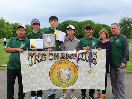 Golfers pictured (left to right): Steve Kim, Eagan McDermott, Justin Yu, Brandon Wei and Arav Patel. Coach Bo Henning is on the far right. In addition, the GMC Committee Officers presented a plaque to Carol Byrnes (second from right) and created a scholarship award in memory of her husband, Jeff, the former manager of Tamarack Golf Course.
