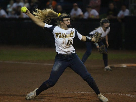 Whitnall pitcher Haley Wynn throws in the seventh inning