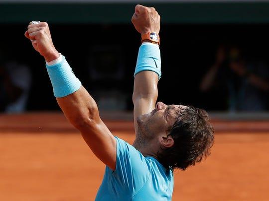 Spain's Rafael Nadal celebrates winning his semifinal
