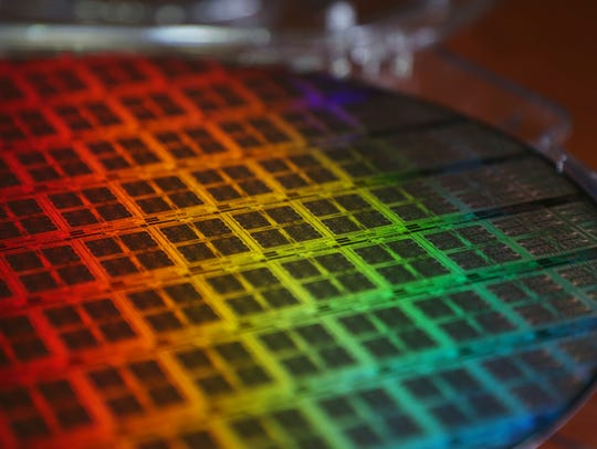 A silicon wafer from GlobalFoundries' Fab 10 in East