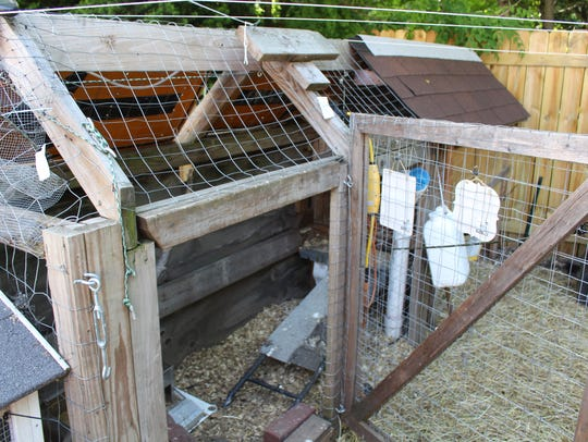 Jennifer Wagner made a chicken coop out of skateboard half-pipe material.