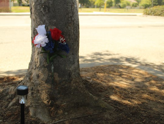 A makeshift memorial sits at Salinas' El Dorado Park