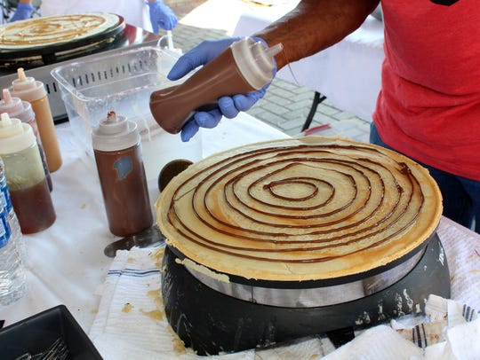 Dr. Crepe food stand prepares a sweet crepe at Shreveport