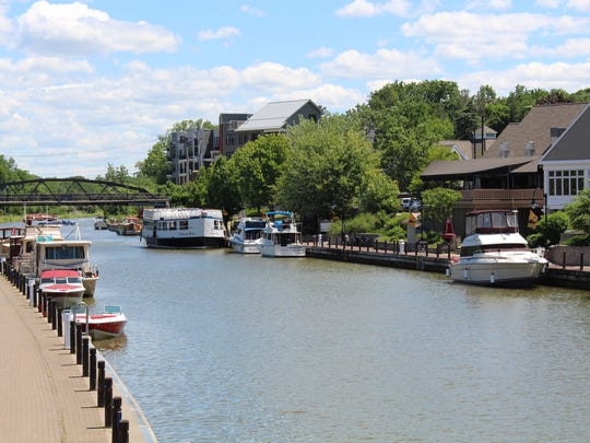 Boats on the Erie canal docked in Fairport.