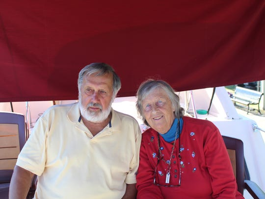 Paul Miller, 78, and Jean Miller, 76 enjoy docking