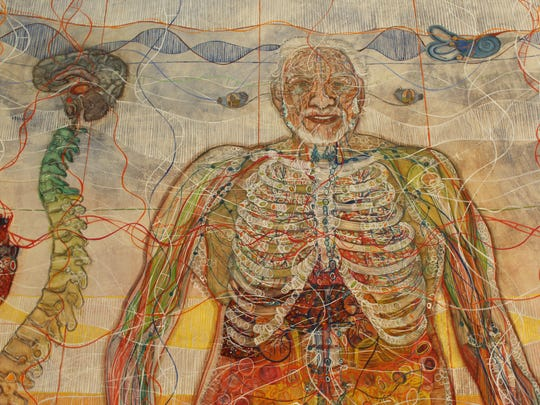 Monica Martinez became interested in the combination of art and the anatomy of the human brain after her father, depicted above, was diagnosed with Alzheimer's disease. This portrait took one year to complete, and the full-body version along with many other pieces can be viewed at Tempe Center for the Arts.