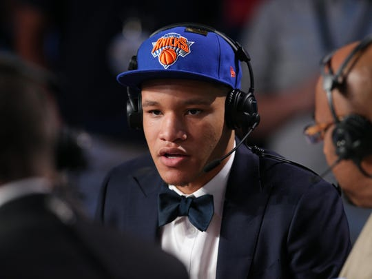 Kevin Knox (Kentucky) is interviewed after being selected as the number nine overall pick to the New York Knicks in the first round of the 2018 NBA Draft at the Barclays Center.