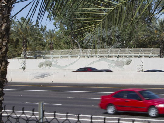 Scottsdale lost several sections of the decorative lizard artwork along Loop 101 in 2010 and could lose more during an upcoming road widening project.