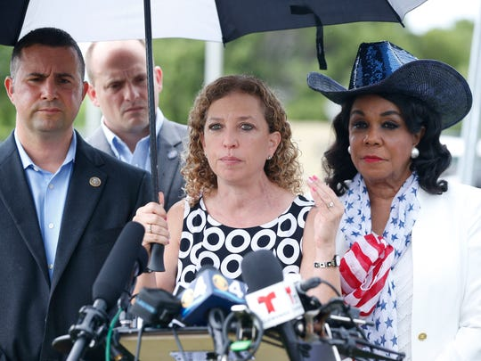 Congresswoman Debbie Wasserman Schultz, speaks during a news conference in front of the Homestead Temporary Shelter for Unaccompanied Children last year in Homestead.