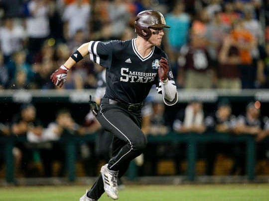 Mississippi State sophomore shortstop Jordan Westburg scored the winning run in the Bulldogs' 4-3 win over Southern Miss on Sunday. (AP Photo/Nati Harnik)