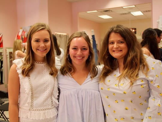 """Demoiselle Debs Molly Bowman, Allyson Horton, Marian jackson take time for a photo op at """"Style Solutions."""""""