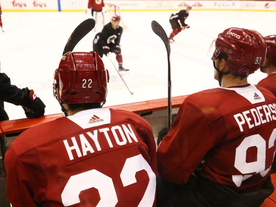 Rookie forward Barrett Hayton during the Coyotes' developmental camp at Gila River Arena on Monday.