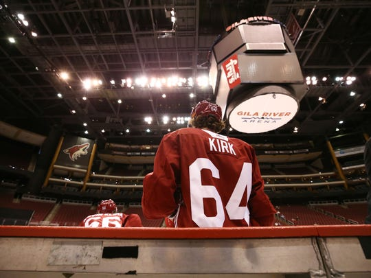 Rookie Liam Kirk during Coyotes developmental camp at Gila River Arena on Monday.