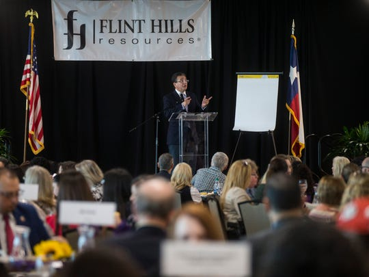 Andy Saenz, Public Affair Manger for Flint Hills Resources, speaks during 7th Annual Great Expectations Luncheon that benefits The Purple Door on Tuesday, June 26, 2018, at the Congressman Solomon P. International Center.