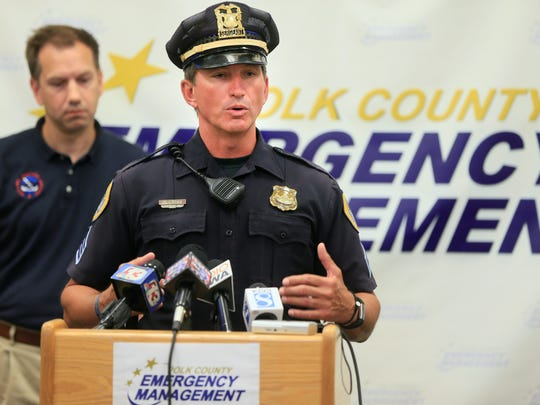 Sgt. Paul Parizek speaks during a press conference