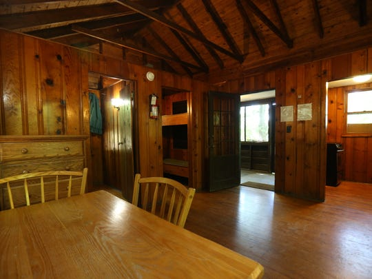 The interior of a cabin available for rent at Mills