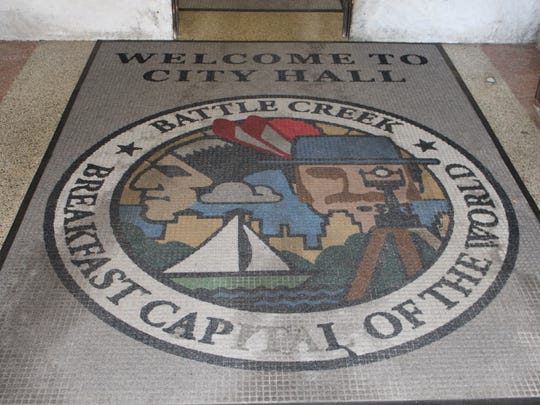 The city logo can be found throughout the city. At City Hall, it welcomes guests when they walk in and see the carpet.