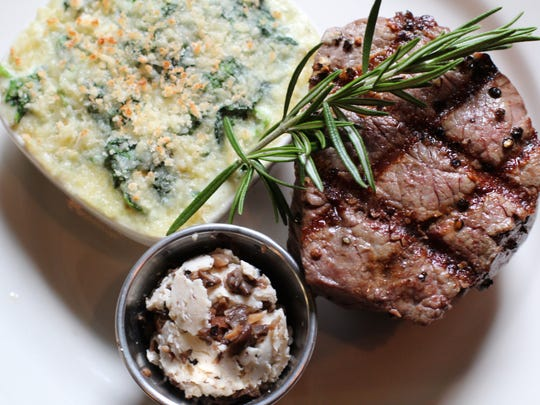 Guests can enjoy the filet mignon for $21.95 accompanied with Belhurst's signature mushroom and cracked pepper butter with a side of creamed baby spinach au gratin for $3.95.
