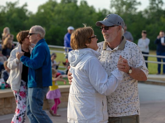 Sarah and Earl Reiss of Grafton dance at Music in the Glen earlier this summer.