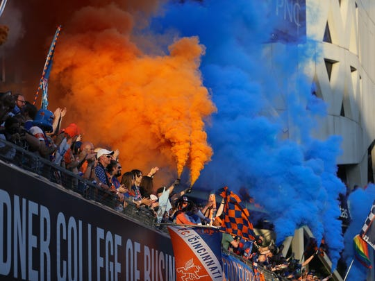 FC Cincinnati fans get set for the first half of a USL match between Charlotte Independence and FC Cincinnati, Wednesday, July 18, 2018, at Nippert Stadium in Cincinnati.