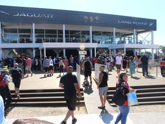 The Jaguar Land Rover stand at the 2018 Goodwood Festival